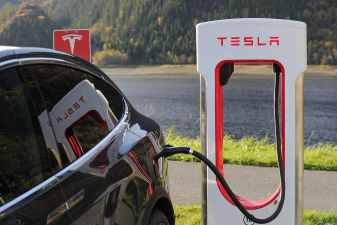 Tesla charger and car